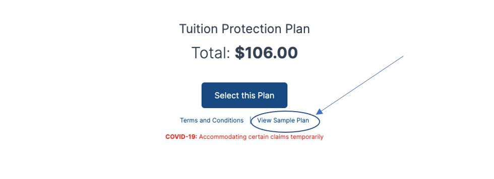 Screenshot of plan selection screen, coverage total and link to sample policy